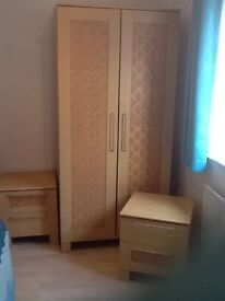 Wardrobe and two matching bedside tables