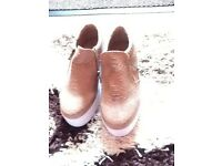 NEW TAN SHOES SIZE 5 with zip at the side
