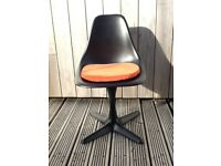 2 vintage 1960s original fiberglass tulip chairs, professionally sprayed black.