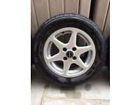 Alloy Car Wheels, With Near New Tyres!