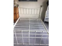 Cream steel king size bed frame