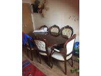 italian made table and 6 chairs