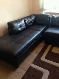 Dark brown corner sofa