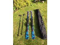 BRAND NEW!! Salomon R14 Skis with Poles and Ski Bag