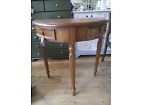Wood half moon Console Table with drawers.