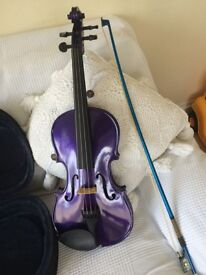 Violin, purple with bow and case
