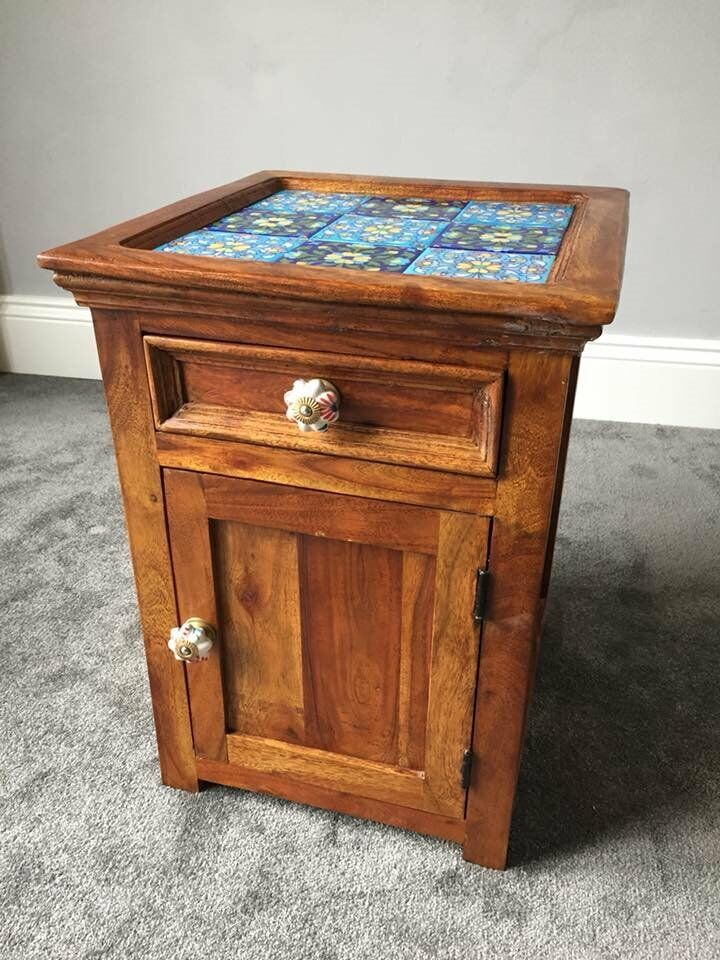 Rustic Wood Bedside Table: Rustic Solid Wood Tile Small Bedside Cabinet Or Side Table