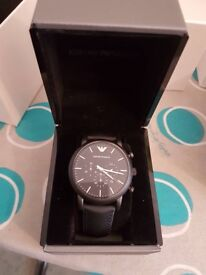 Good condition Emporio Armani black men's watch boxed