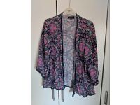 BLUE AND PINK PATTERN KIMONO TYPE JACKET SIZE 14 BY NEW LOOK