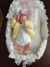"Reborn doll, micro size 9,5"", lifelike, Zachy by Marita Winters, can be boy or girl with crib"