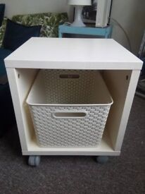 white side table cube