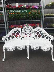 3 seater metal garden bench