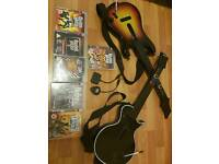 5 guitar hero games and one rock band game for ps3 2 guitars