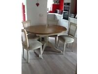 Oval Dining table and four chairs pine and cream