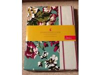 Joules Cambridge Double Duvet Cover. 100% Cotton. Green Pink White Floral. BRAND NEW