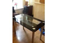 Glass and Steel Dining Table for Sale