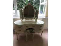 1970's Vintage French Louis Style Dressing Table,Triple Mirror & Stool £135