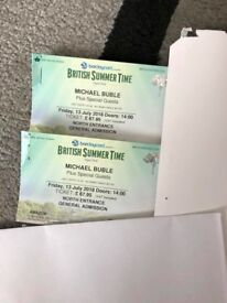 2 X MICHAEL BUBLE TICKETS HYDE PARK FRIDAY 13TH JULY