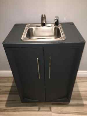 Portable Sink Self Contained Hot Cold Water With Automatic Sensor 120v. Gray