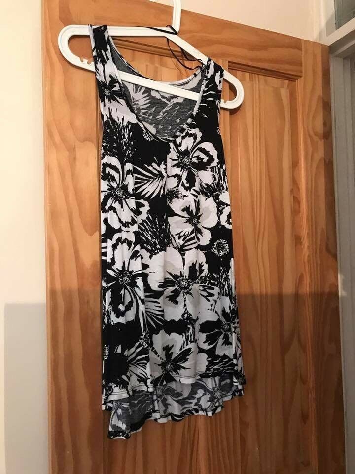 Ladies size 10 black and white long top