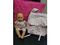 Baby annabelle doll with doll carrier and changing bag in one