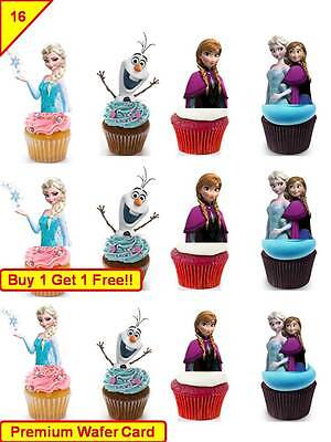 32 Disney Frozen Elsa Anna Birthday Cup Cake Edible Wafer Rice Toppers Stand up ()
