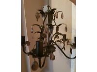 Metal Chandelier with removeble crystals 5 arm