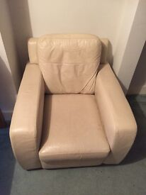 Retro cream leather armchair