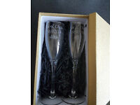 Personalised Engraved Pair Champagne Glass Flutes & Gift Boxed