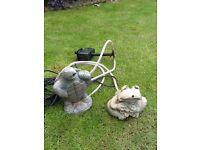 Garden pump with water spouting frog & turtle