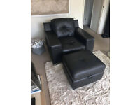 Large leather chair and foot stool with storage