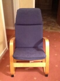 Kids chair in beech wood with a blue padded cover. bought in ikea. good condition.