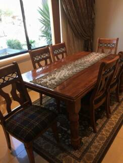 Solid Timber Dining Table with 6 Chairs Bexley Rockdale Area Preview