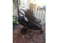 Britax Dual Baby Toddler Double Pushchair Stroller Pram Charcoal dark grey