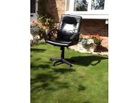 Desk/computer Chair in Black Faux Leather