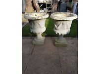 BEAUTIFU;L PAIR HEAVY GARDEN URNS WIT LOVELY FACE DETAILING