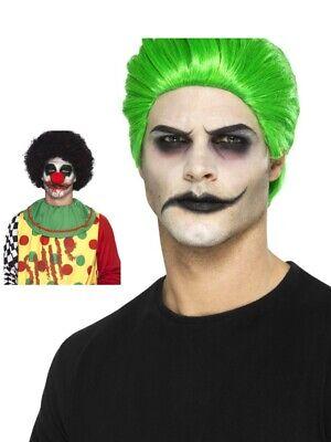 Joker Jester Trickster Green Wig and Clown Fancy Dress Make Up Halloween Film