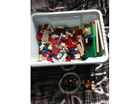 Box of vintage Lego and mini figures