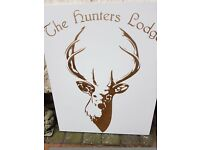 Large Pure White Marble,Golden Stag Sign, Set inPure White Marble ... The Hunters Lodge