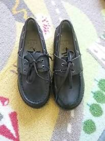Black leather lined moccasin style shoes size 12 BNWT