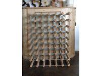 large 48 bottle wood & metal wine rack