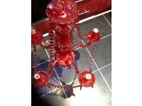 Chandelier,stylish red,5 arm,supplied with 5 brand new LED candle lamps,bargain £20,pos loc delivery