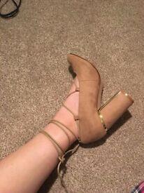 Woman's Nude Block Heel