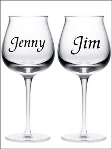 New 20 PERSONALISED NAME wine glass vinyl stickers Decals 18 Colour choice 002