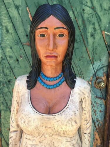 John Gallagher Carved Woman Wooden Cigar Store Indian 5 ft.Tall Wolf Pup