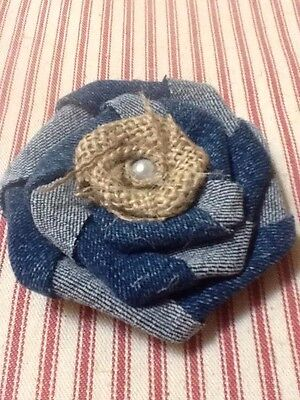 Rustic Denim and Burlap Flower Pearl Country Wedding Western Outdoor Table Decor