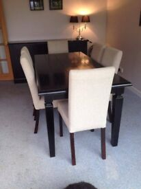 Dining Table & 6 Chairs. Ex Treehouse Interiors, Black wood, oatmeal coloured seats, immaculate