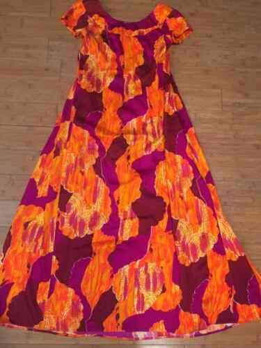 Size 6 Liberty House of Hawaii Vintage Muumuu Long Maxi Dress Orange Floral