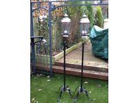 2 x copper and stainless steel garden lanterns