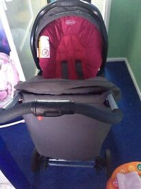 graco grey and pink travel system